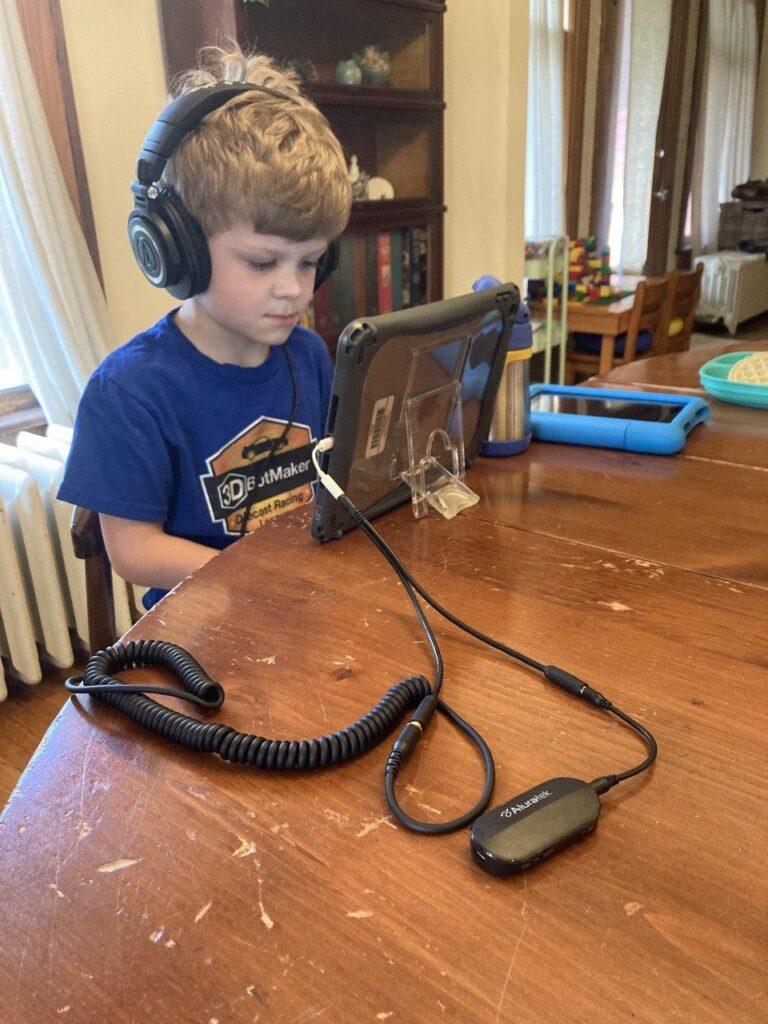 Timmy using our iPad split setup