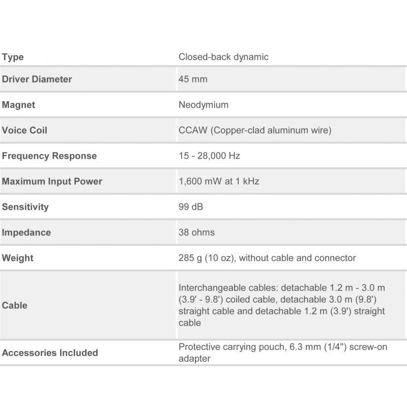 ATH-M50X Professional Monitor Headphones Specs